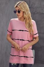 T-shirt décontracté rose Tie-dye Stripe