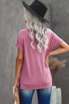 Růžové tričko s kulatým výstřihem a krátkým rukávem v plné barvě