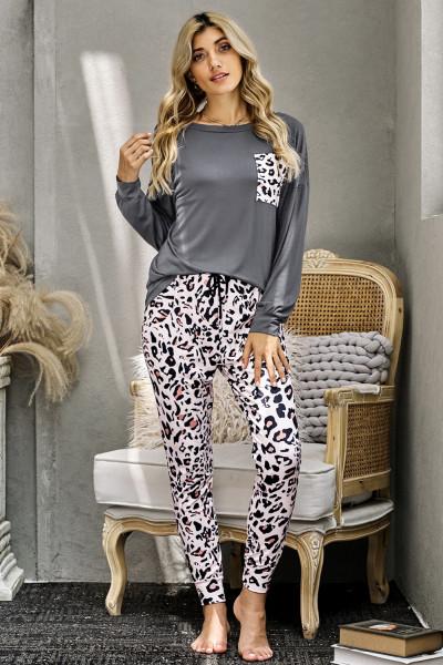 Graues lässiges Langarm-Leopardenhosen-Loungewear-Set