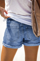 Camo Patchwork rullade jeansshorts