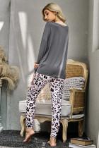 Grijze casual luipaard broek loungewear set met lange mouwen