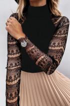 Top noir à manches longues en crochet en dentelle et col montant