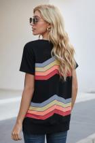 Černé barevné vlnité pruhy s krátkým rukávem