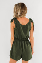 Green Tie Sleeve Buttons Pocketed Cutie Romper