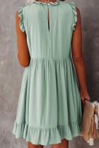 Grünes Taschen-Rüschen-Babydoll-Kleid