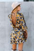 Gelbes Rüschen Tiered Babydoll Style Minikleid