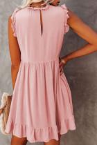 Rosa Pocketed Ruffle Babydoll-klänning