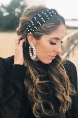 Black Velvet Knot Pearl Headband