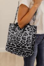 Sac à bandoulière et pochette léopard gris
