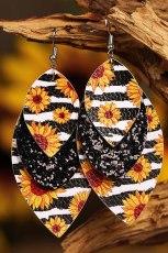 Leopard solsikkefarget blad flerlags øreringer i skinn