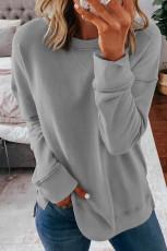 Szara bluza z długim rękawem i okrągłym dekoltem