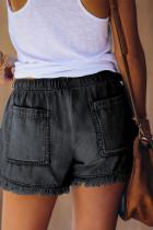 Svart Casual Pocketed Frayed Denim Shorts