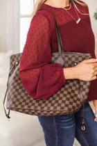 Brązowa torba z nadrukiem w kratę