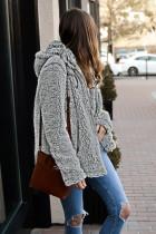 Zipper Grey Hooded Faux Fleece Solid Color Color