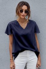 Maglietta a maniche corte con scollo a V blu