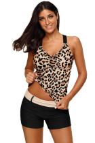 Leopard Strappy Back Tankini-topp