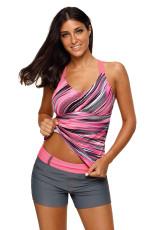 Khaki Fuzzy Stripes Strappy Powrót Tankini Top