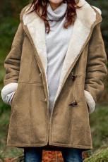 Kahverengi Uzun Kollu Kapüşonlu Düğmeli Cepler Duffle Mont