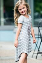 Harmaa Colorblock Patchwork raidallinen tyttöjen mekko