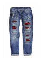 Buffalo Plaid Patches Distressed Straight Jeans