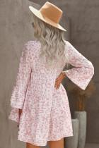Ροζ Leopard Εκτύπωση V Neck Ruffle Swing Mini Dress