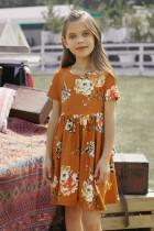 Oranžové dětské květinové šaty s krátkým rukávem do kapsy