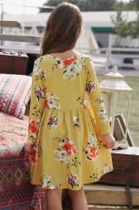 Kukka mustalla swing mekko piilotettu taskut