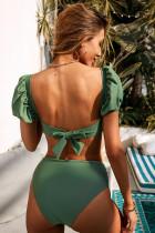 Vihreä seksikäs kuplahihainen korkea vyötärö bikini