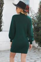 Grønn Mock Neck Lantern Sleeves Genser Kjole