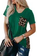 Zelené tričko Leopard s potiskem sestřihu