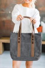 Szara torebka płócienna z kontrastowymi paskami na ramię