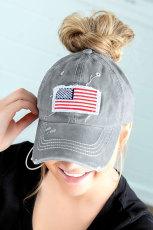 Harmaa USA Flag Messy Bun Cap