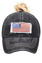 Svart USA Flag Messy Bun Cap