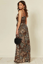 Leopard Wrap Maxi kjole med spalte