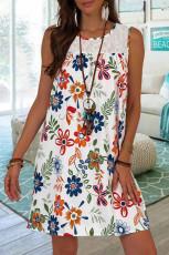 Weißes Spitzen-Spleiß-Blumen-Minikleid