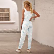 Blue Tie Dye Drawstring Jogging Jumpsuit