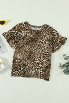 Ruffled Sleeves Leopard Girls T-skjorte