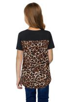 Svart V-hals Leopard Splicing Kid T-skjorte