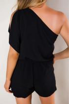 Černý Romper na jedno rameno s kapsami