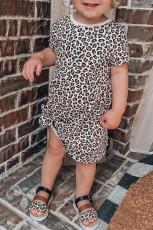 Kislányok leopárdmintás rövid ujjú mini ruhája
