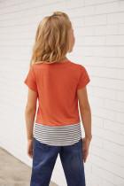 Sequins Pocket Splicing Stripes T-paita