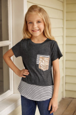 تی شرت دخترانه راه راه چاپ Splicing Stripes