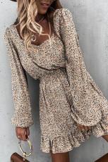 Khaki elastisk midje rufsete blomster kjole