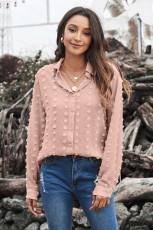 Chemise kaki à manches longues avec boutons et pois