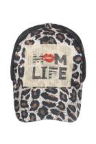 MOM LIFE Leopard Mesh Splicing Hollow Out Czapka z daszkiem