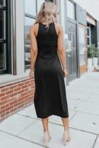Siyah Yan Yırtmaçlı Kolsuz Midi Elbise