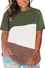 T-shirt vert à col ras du cou et couleurs contrastées
