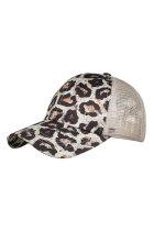 Distressed Leopard Mesh Back Ponytail Baseball-lippis