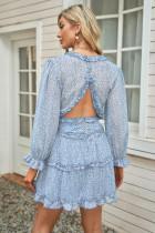 Sky Blue Ruffle Detailing Blumenkleid mit offenem Rücken