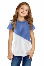 Himmelblå Colorblock Splicing Little Girl Tee